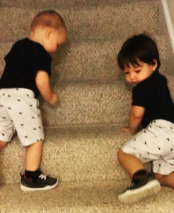 How to simpliy your life with twins by teaching going down the stairs